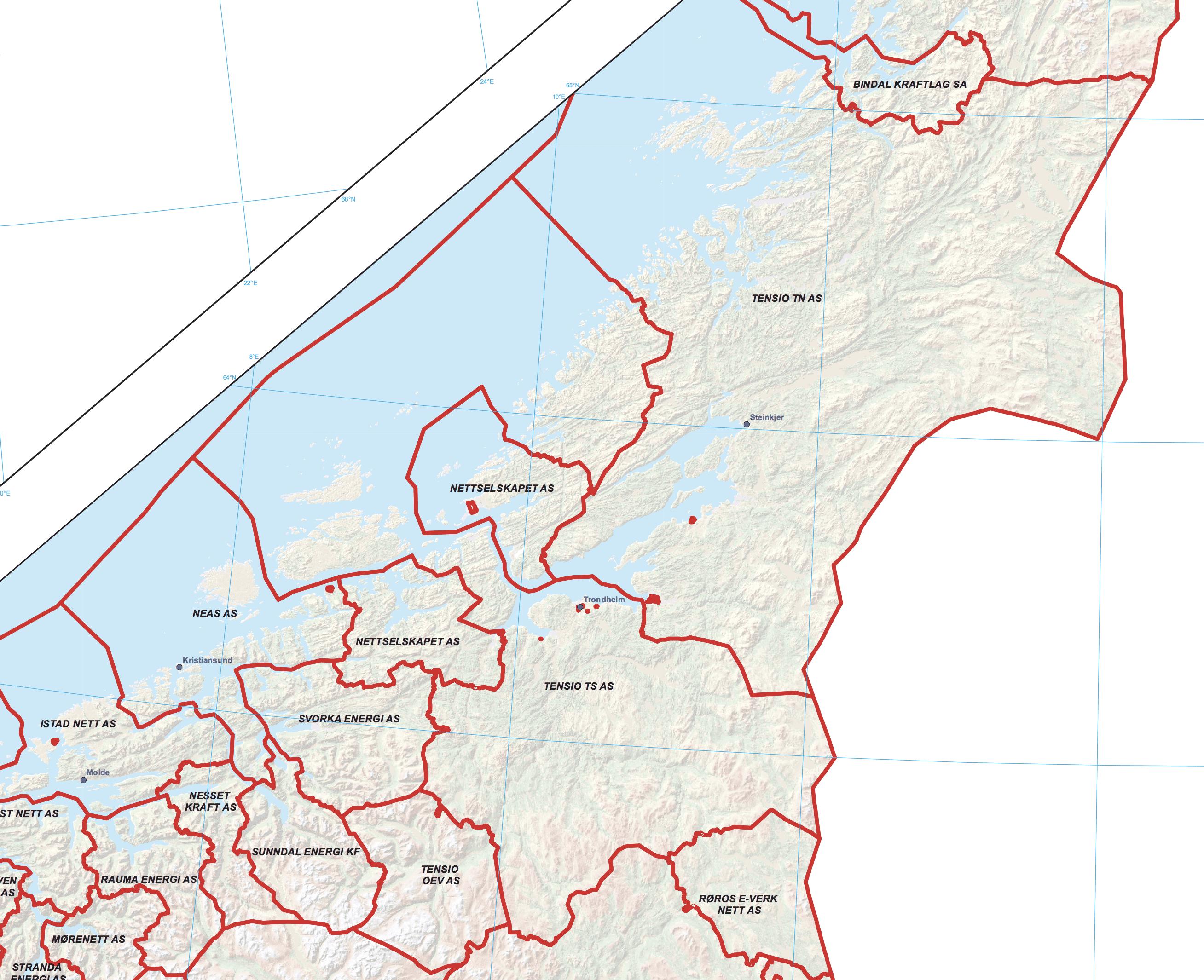Trøndelag nettleie kart
